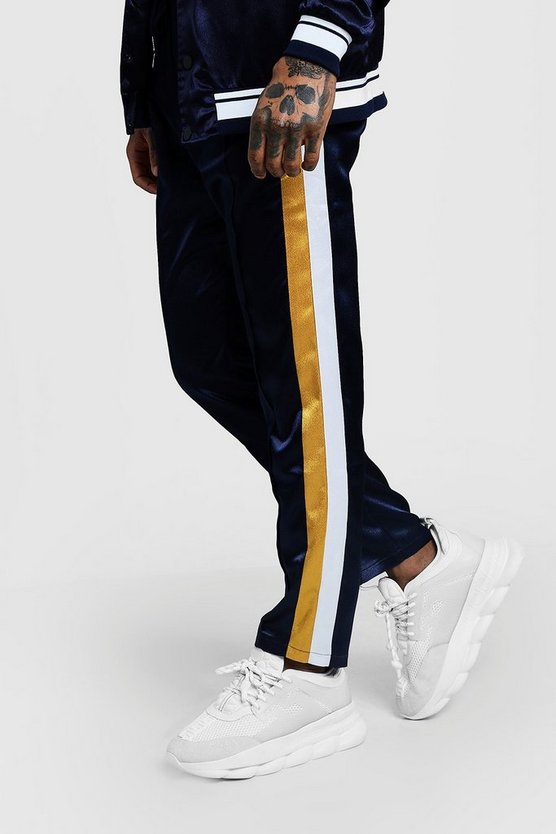 Side Stripe Satin Joggers