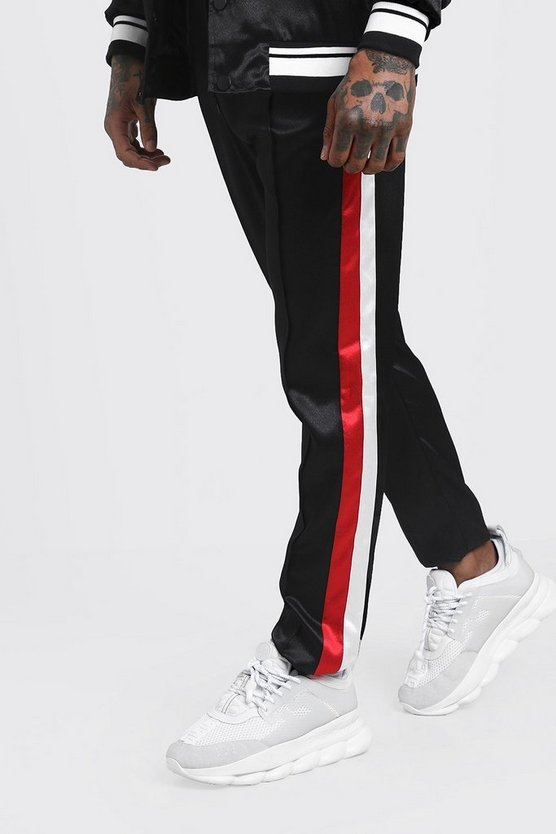Mens Black Skinny Fit Side Stripe Satin Jogger