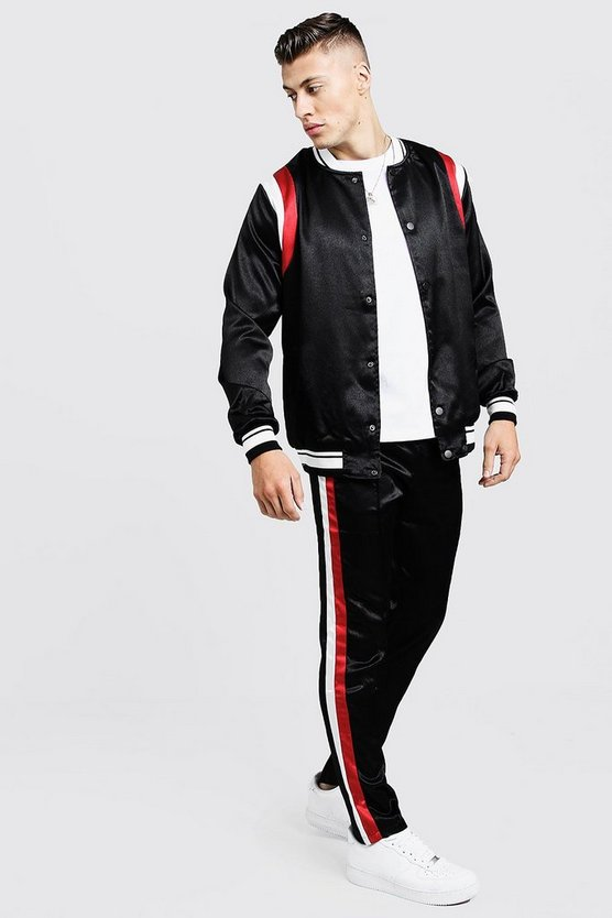 Mens Black Satin Bomber Tracksuit