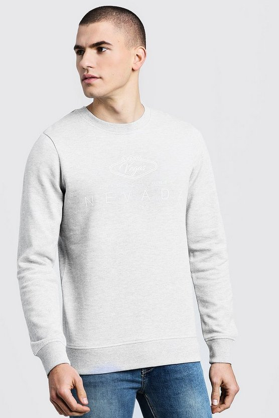 Grey City Print Crew Neck Sweater