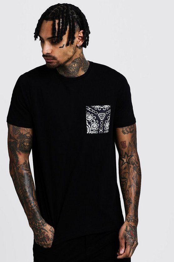 Bandana Print Pocket T-Shirt