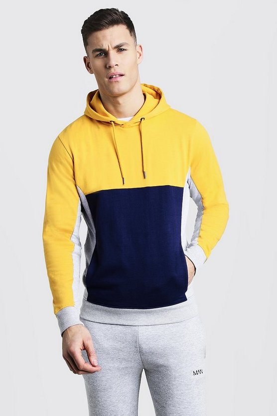 Colour Block Panel Over The Head Hoodie