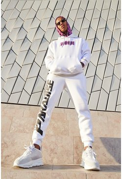 Mens White Paradise Print Hooded Tracksuit