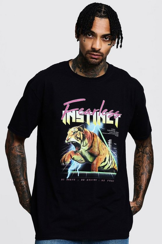Mens Black Fearless Instinct Oversized Print T-Shirt