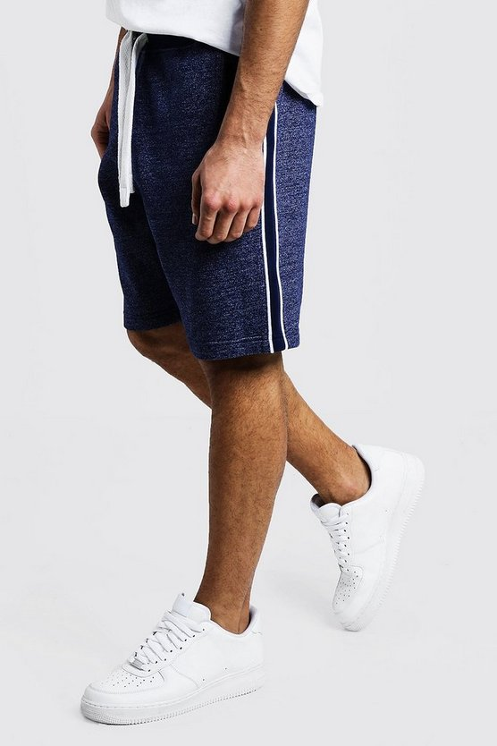 Mens Navy Tape Detail Jersey Short