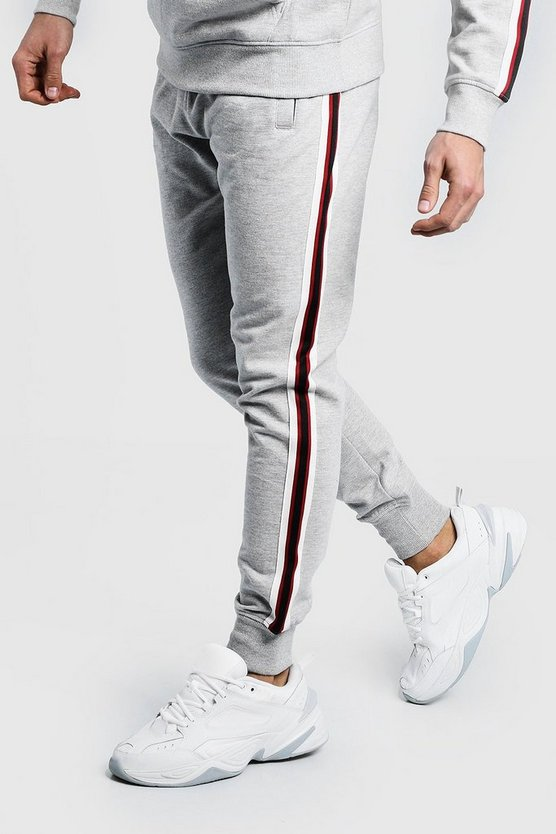 Mens Grey Tape Detail Slim Fit Jogger