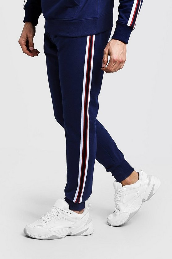 Tape Detail Slim Fit Jogger, Navy, МУЖСКОЕ