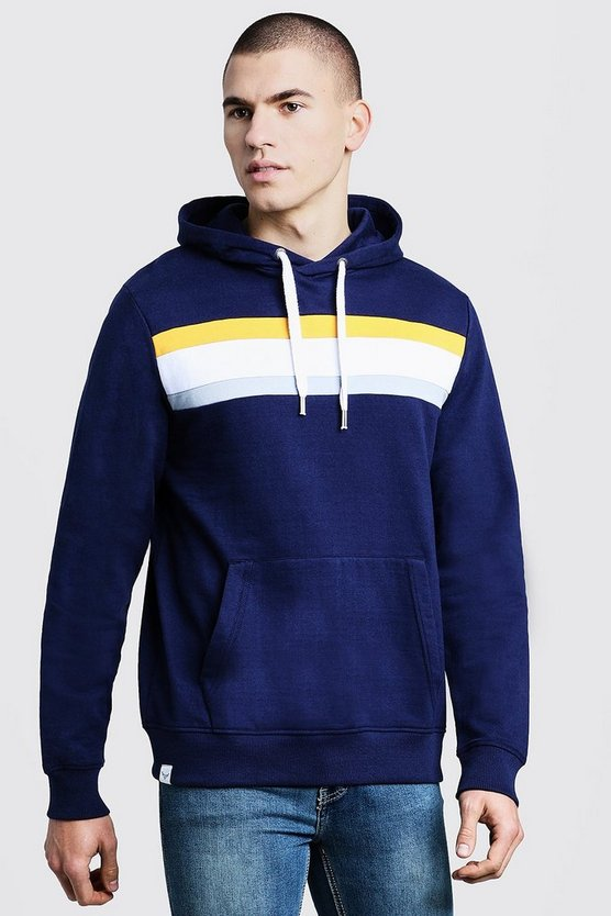Mens Navy Chest Panel Over The Head Hoodie