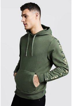 Mens Khaki Camo Tape Detail Over The Head Hoodie