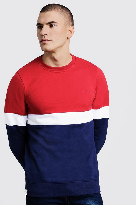 Colour Block Fleece Crew Neck Sweater