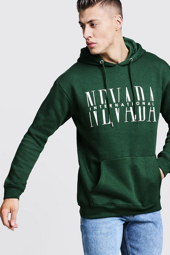 Mens Green Nevada Graphic Print Fleece Hoodie