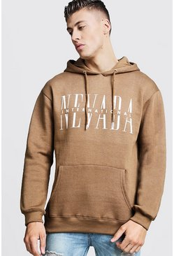 Mens Tobacco Nevada Graphic Print Fleece Hoodie