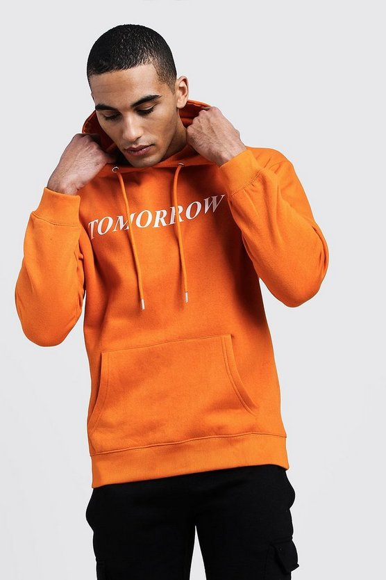 Mens Orange 'Tomorrow' High Build Print Hoodie