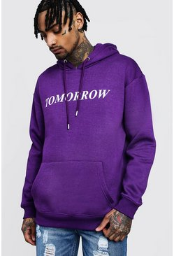 Mens Purple 'Tomorrow' High Build Print Hoodie