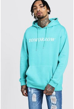 Mens Turquoise 'Tomorrow' High Build Print Hoodie
