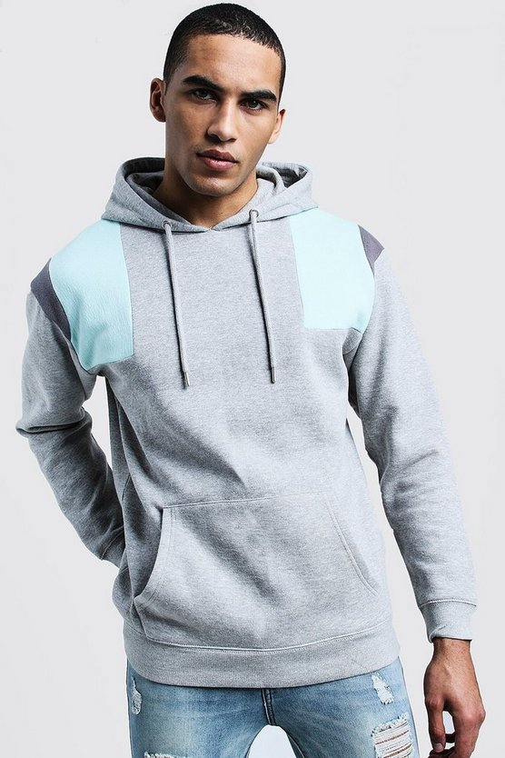 Shoulder Detail Loose Fit Hoodie