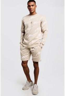 Mens Stone All Over MAN Print Sweater Short Tracksuit