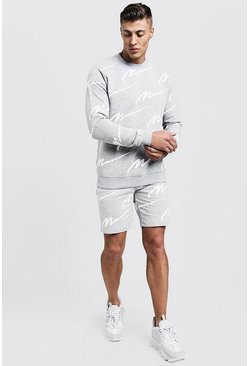 Survêtement short sweat imprimé All Over MAN, Gris
