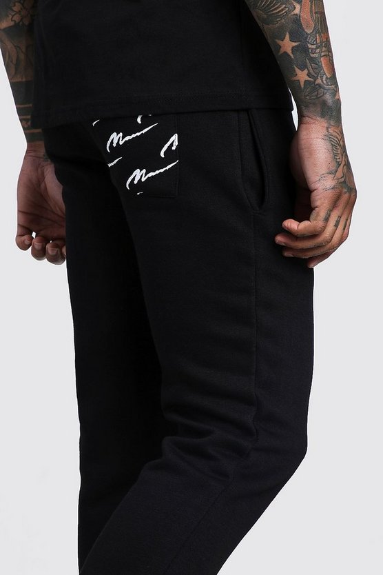All Over MAN Back Pocket Printed Skinny Joggers