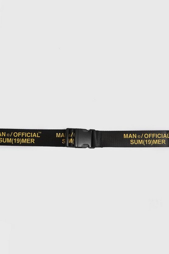 Man Official Printed Tape Belt by Boohoo