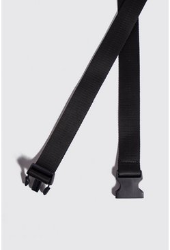 Nylon Tape Belt With Release Buckle, Black, МУЖСКОЕ