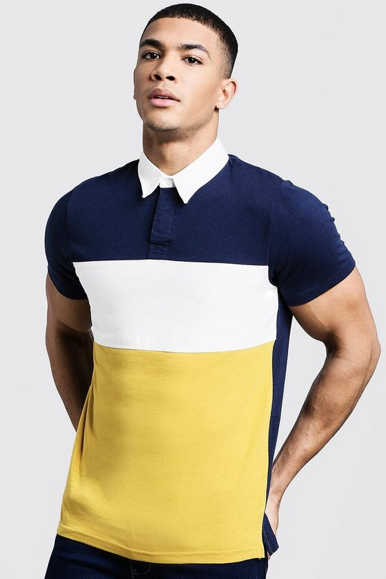 Colour Block Twill Panel Rugby Polo