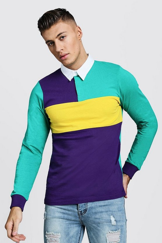 Mens Multi Colour Block Long Sleeve Rugby Polo