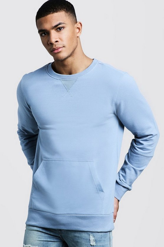 Mens Blue Kangaroo Pocket Panel Sweater