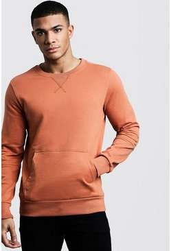 Mens Rust Kangaroo Pocket Panel Sweater