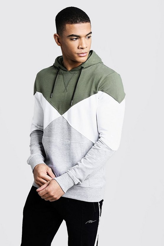 Colour Block Spliced Hoodie