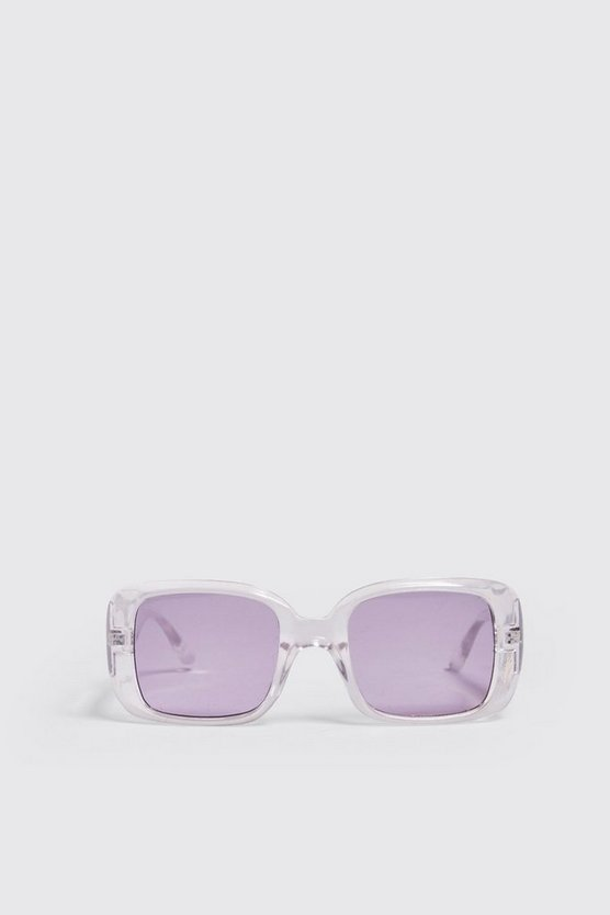 Mens Lilac Clear Frame Rectangle Sunglasses