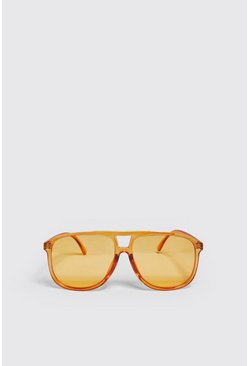 Mens Yellow Aviator Sunglasses