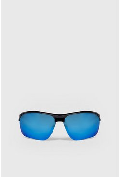 Visor Reflective Sunglasses, Blue, МУЖСКОЕ