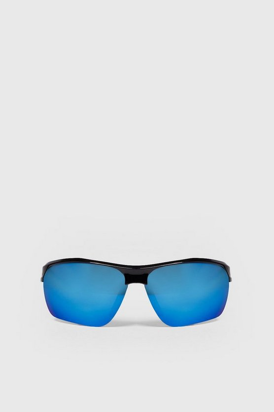 Mens Blue Visor Reflective Sunglasses