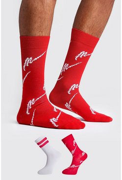 Mens Red MAN All Over 2 Pack Socks