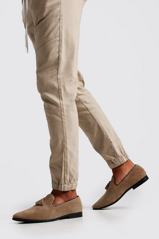 Mens Sand Suede Look Tassel Loafer