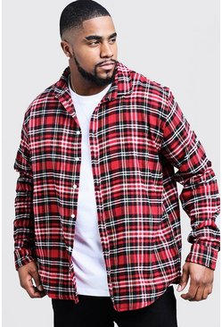 Big And Tall camicia a quadri oversize, Rosso, Maschio