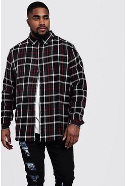 Big And Tall Longline Check Shirt, Black, МУЖСКОЕ
