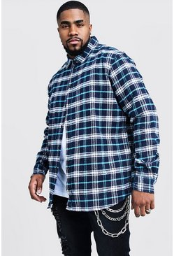 Navy Big And Tall Longline Check Shirt With Print