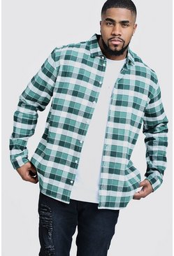 Mens Green Big And Tall Regular Fit Check Shirt