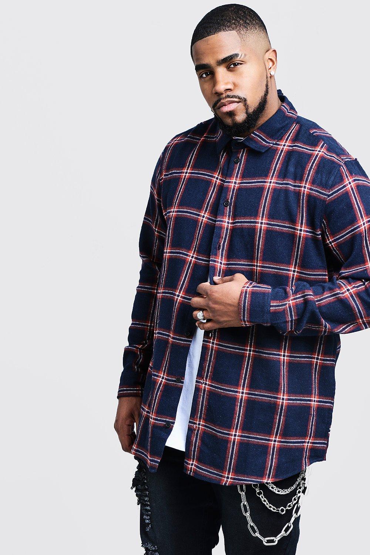 Big And Tall Longline Check Shirt