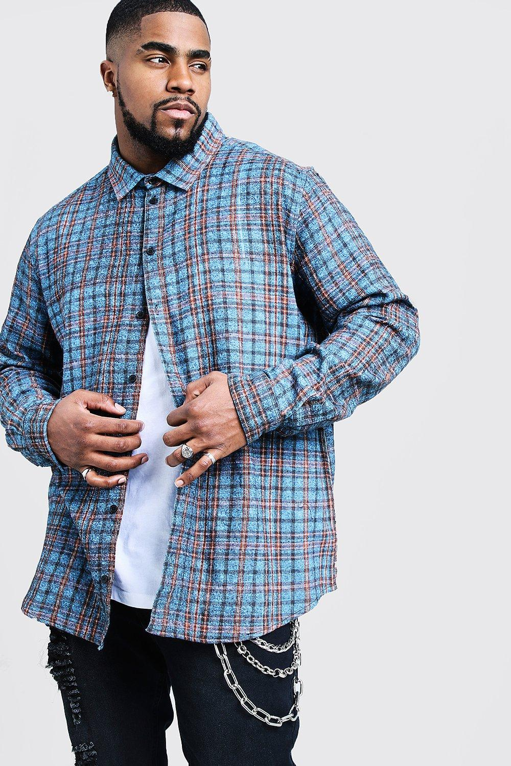 Big And Tall Longline Check Shirt