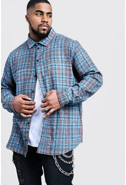 Mens Pale blue Big And Tall Longline Check Shirt