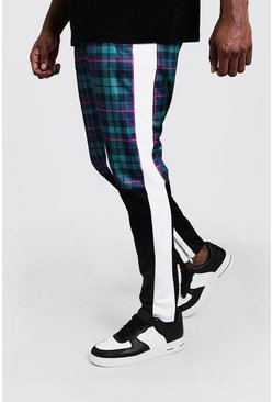 Mens Green Big & Tall Tricot Tartan Skinny Fit Joggers