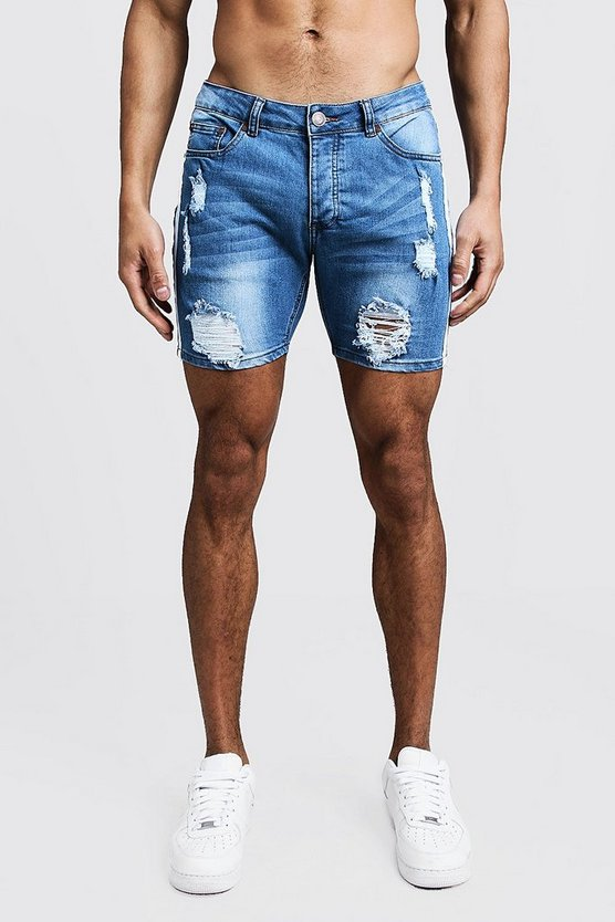 Mens Blue Skinny Fit Distressed Shorts With Side Tape
