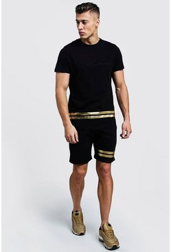 Mens Black MAN Curve Hem T-Shirt & Short Set