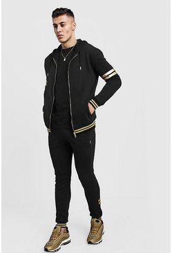 Mens Black Gold MAN Zip Hooded Tracksuit With Foil