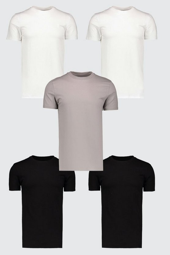 Multi 5 Pack Muscle Fit T-Shirt
