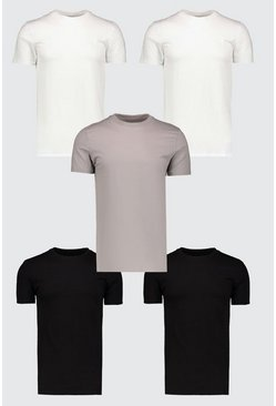 Mens Multi 5 Pack Muscle Fit T-Shirt