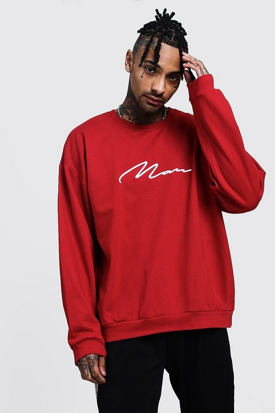 Mens Red Oversized 3D MAN Signature Sweater